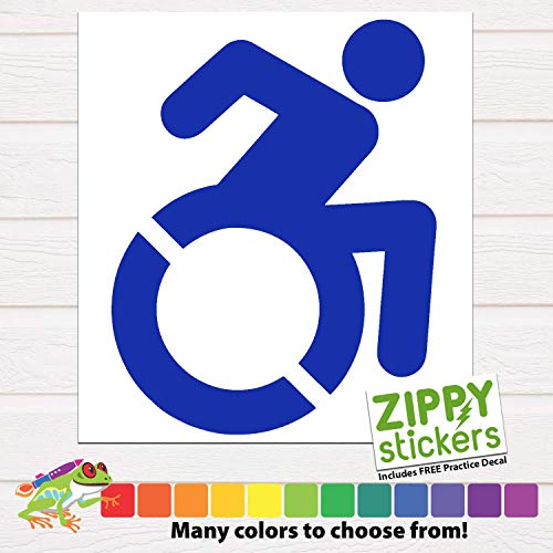Zippy Stickers | Handicapped/Disabled Symbol/Sign Decal/Sticker - New Style Handicap Wheelchair In Motion Logo - Many Colors and Sizes to Choose From
