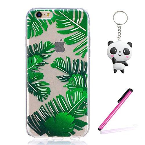 iPhone 6 Plus / 6S Plus Hülle Grüne Blätter Premium Handy Tasche Schutz Transparent Schale Für Apple iPhone 6 Plus / 6S Plus + Zwei Geschenk
