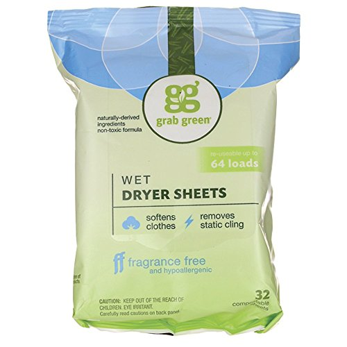 et Dryer Sheets, Reusable & Compostable, Fragrance Free, Unscented/Free & Clear, Fabric Softener & Static-Reducer, 64 Loads ()