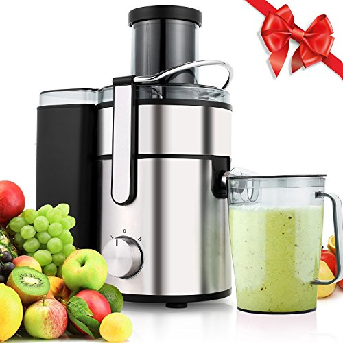 Meykey Juicer Machine,Juice Extractor 80MM Wide Mouth Masticating Juicer for Fruit and Vegetables,Whole Powerful 800 Watt with Juice Jug,2 Speed Setting Stainless Steel