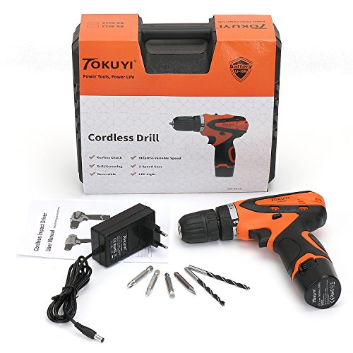 Tokuyi 12V Lithium-Ion Cordless Drill Driver Kit with 1500mAh Battery, Charger, 6pcs Driver Bits, Variable Speed Switch & LED Light