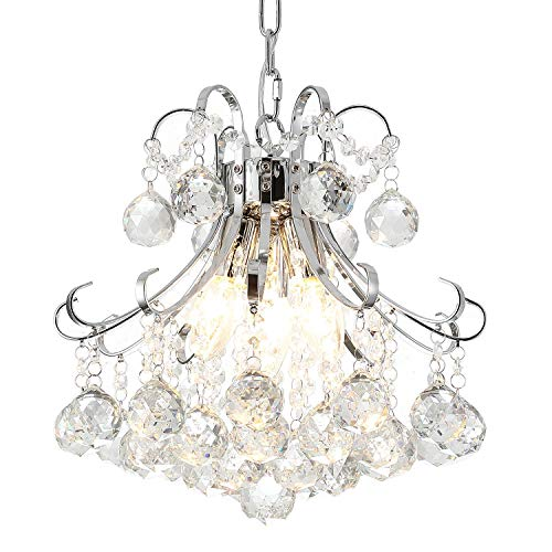 Three Light Elegance Pendant - Ganeed Chandeliers,3-Light Modern Crystal Chandelier, Pendant Lighting,Flush Mount Ceiling Light Fixture for Living Room,Office,Dining Room,Bedroom,Chrome