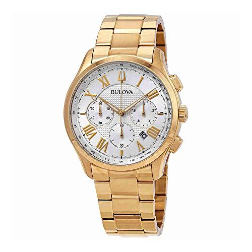 Gold Tone Dial Dress Watch (Bulova Dress Chronograph Silver Dial Yellow Gold-Tone Mens Watch 97B171)