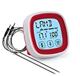 HOME CIRCLES Grill, Smoker, BBQ, or Oven Touchscreen Meat Probe Thermometer - Best Accurate & Digital With 2 stainless steel probes for Steak Pork Chicken... (Red)
