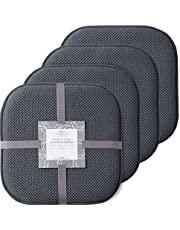 Marina Decoration Premium Thick Comfortable Cushion Memory Foam Chair Pads Honeycomb Pattern Nonslip Rubber Back Seat Topper Rounded Square 16 x 16 Seats Cover for Kitchen Chairs 4 Pack Charcoal Grey