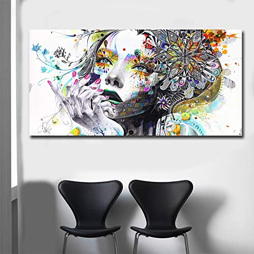 W15Y8 Beautiful Flower Girl Painting Canvas Wall Art Posters Print Pictures For Bedroom Home Decoration Drop Shiping70X140Cm No Frame