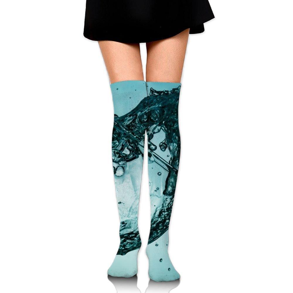 Water Glass Wine Art Over The Knee Long Socks Tube Thigh-High Sock Stockings For Girls & Womens