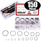 Hilitchi 150-Pcs 304 Stainless Steel External Circlip Snap Retaining Clip Ring Assortment Set - Size: 4mm to 28mm