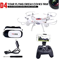 Dwi Dowellin RC Drone with VR Glass FPV WIFI 720P HD Camera Live Video 2.4Ghz RC Quadcopter with Altitude Hold One Key Return and Headless Mode Function RTF Helicopter UAV D4W1-MV100