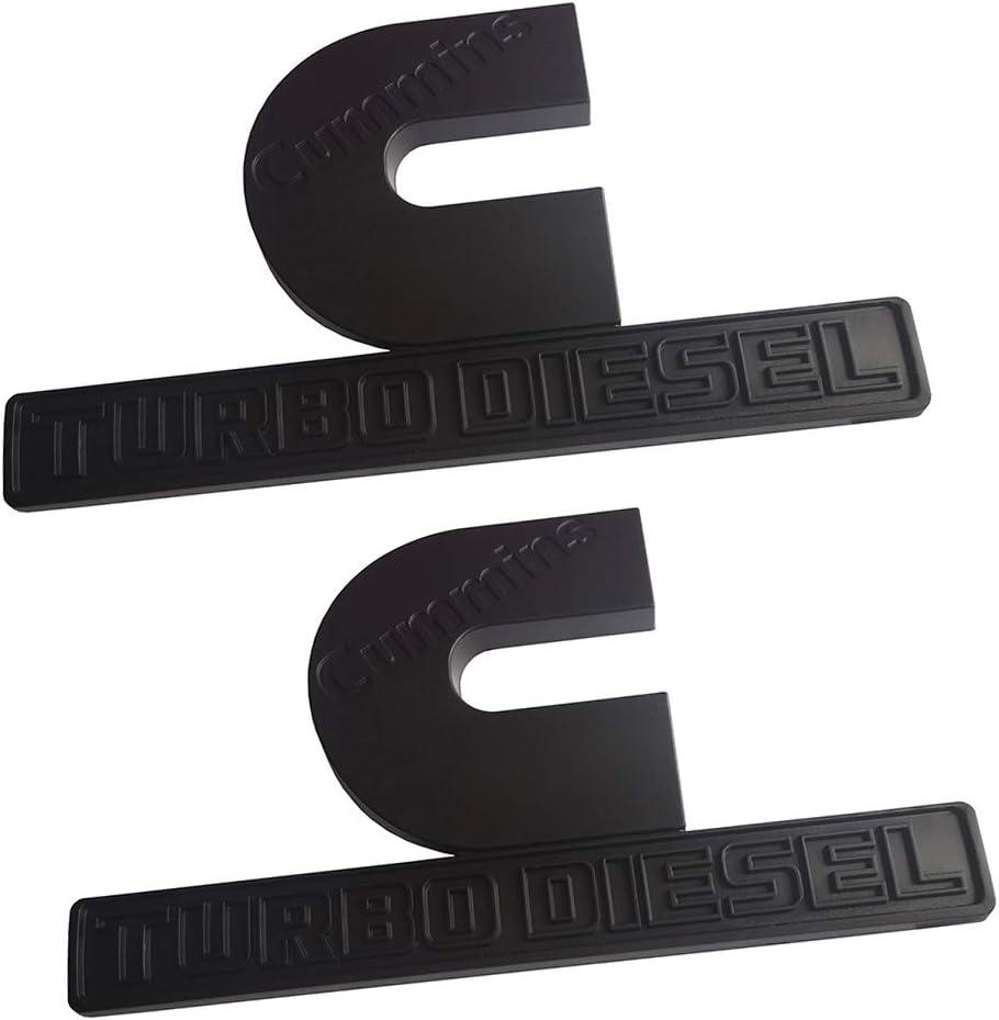 2Pcs Cummins Turbo Diesel Emblems 3D Decal Badges Replacement for Ram 2500 3500 Nameplate Emblem Mopar Black