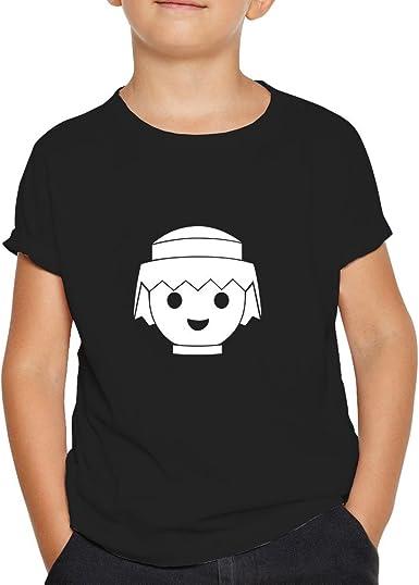 Camiseta Playmobil. Una Camiseta de niño para los Fans de los playmobil. Camiseta Friki de Color Negra: Amazon.es: Ropa y accesorios