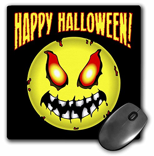 3dRose Mark Grace HALLOWEEN smiley face - ZOMBIE SMILEY FACE happy halloween 1 on black - MousePad (mp_54643_1)