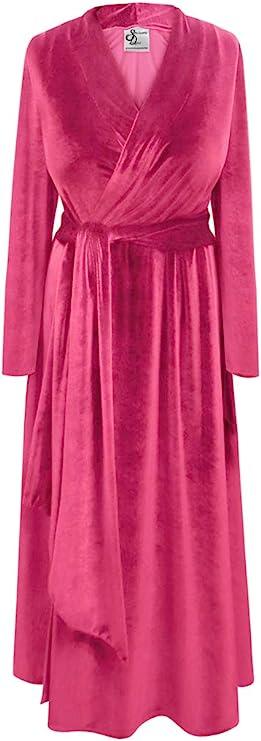 Vintage Nightgowns, Pajamas, Baby Dolls, Robes Soft & Silky Velvet Robe with Attached Belt Sanctuarie Designs Plus Size   AT vintagedancer.com
