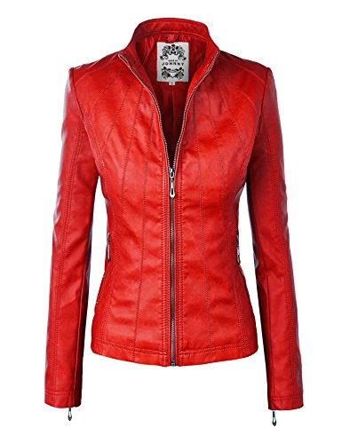 WJC877 Womens Panelled Faux Leather Moto Jacket L RED