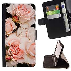 Momo Phone Case / Flip Funda de Cuero Case Cover - Luz Rosas Árbol de Composición - HTC Desire 626