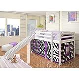 Donco Kids Twin Loft Tent Bed Slide – White
