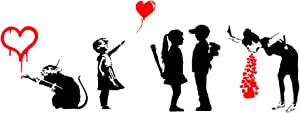 There is Always Hope - Ballon Girl, Love Rat, Girl Meets Boy, Lovesick, Banksy Inspired Decals (Love Black + Red)