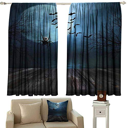 Customized Curtains Halloween Decorations Misty Lake Scene Rusty