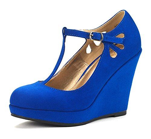 DREAM PAIRS Women's ASH-33 Royal Blue Wedge Heel Platform Pump Shoes - 5.5 M US