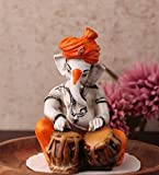 Karigaari Ganesha with Tabla Polyresine Statue (10.01 cm x 10.01 cm x 10.01 cm)