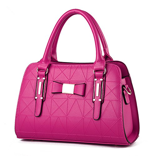 XIN BARLEY Fashion Pu Leather Shoulder Bag Sexy Handbag for Women Rose Red