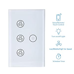 Smart Switch for Light and Fan, Smart WiFi Light Fan Switch Ceiling Fan Speed Controller Fan Light Timer Function APP/Voice/Touch Control Compatible with Alexa and Google Home Easy Installation