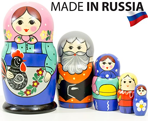 Russian Nesting Doll -Russian Classical - Hand Painted in Russia - 6 Color|Size Variations - Wooden Decoration Gift Doll - Traditional Matryoshka Babushka (6,75``(5 Dolls in 1), Design D) - Hand Painted Russian Nesting