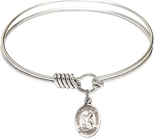 DiamondJewelryNY Eye Hook Bangle Bracelet with a Blessed Herman The Cripple Charm.