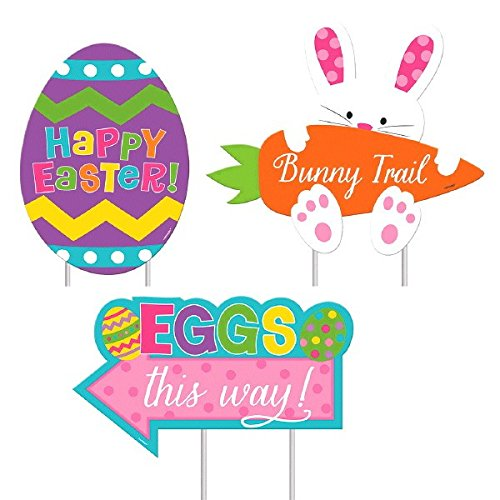 Amscan 199978 Easter Sidewalk Signs, Assorted Sizes, Multicolored ()