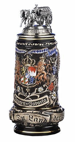 ack Bavaria Stein, State Coat of Arms in centre panel, flanked by views of Munich and Neuschwanstein Castle, State Motto translated: God with you, Land of the Bavarians 0.5 liter tankard, beer mug ()