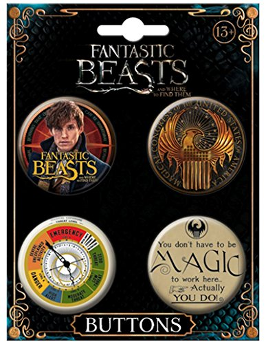 "Price comparison product image Ata-Boy Fantastic Beasts and Where to Find Them Set of 4 1.25"" Collectible Buttons"