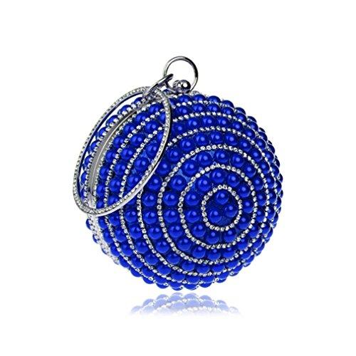Casual de Compras y Formal de Bolso de Fiesta Carrera la de Perla Mujeres Oficina Cristal Blue Bolsos Evento Imitacin Color Blue Diamantes Imitacin Noche YAN Las Boda para polister de de wFBgS7vxq