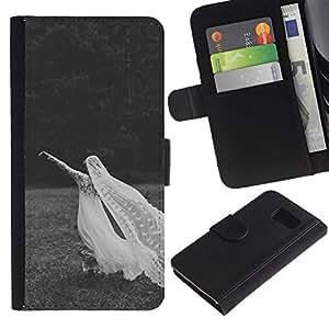 Paccase / Billetera de Cuero Caso del tirón Titular de la tarjeta Carcasa Funda para - Grey Marriage Wedding Black White - Samsung Galaxy S6 SM-G920