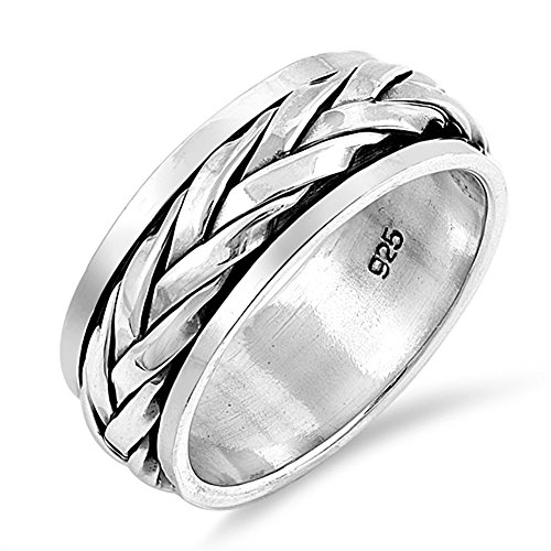 CloseoutWarehouse Sterling Silver Braided Spinner Band Ring Size (Sterling Silver Mens Spinner)