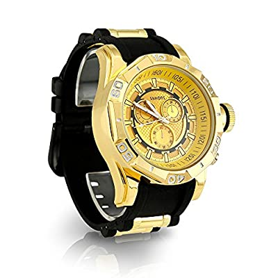 OCt17 Luxury Men's Black Gold Wristwatch Stainless Steel Date Quartz Analog Sport Wrist Watch
