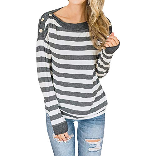 ZTTONE Womens Casual Striped Long Sleeve Sweatshirt Pullover Top Blouse