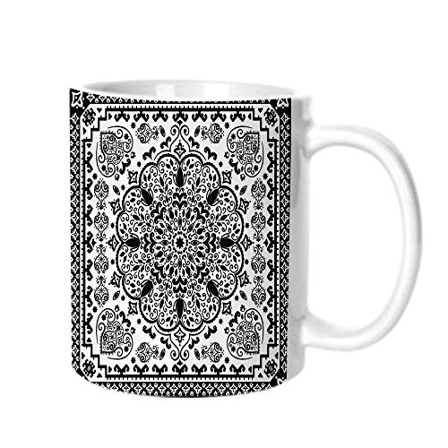 Ethnic Fashion Coffee Cup,Ethnic Mandala Floral Lace Paisley Mehndi Design Tribal Lace Image Art Print Decorative For office,One size