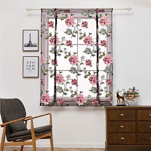 Aoile Rod Pocket Sheer Kitchen Curtains Tie Up Roman Shades Tulle Curtains for Small Window, Purple 80120cm (Purple Shades Roman)