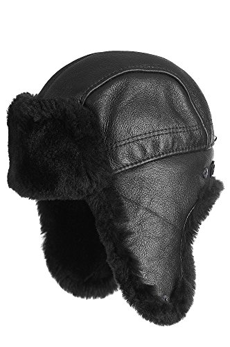 Overland Sheepskin Co. Shearling Sheepskin Trapper Hat, Black Tone On Tone, Size Large (7 1/4-7 3/8) by Overland Sheepskin Co