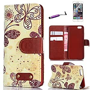 Retro Design Butterfly Pattern PU Leather Full Body Cover with Card Stylus and Protective Slot for iPhone 6