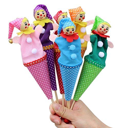 TOYMYTOY 6 Pcs Finger Puppets Clown Finger Toys Story Teller for Baby Kids Story Playset