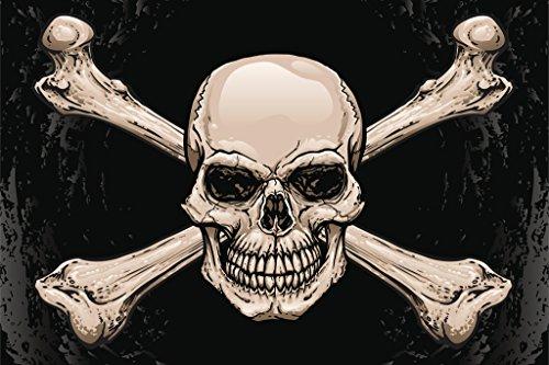 Skull and Crossbones Pirates Symbol Warning Sign Poster 18x12 inch