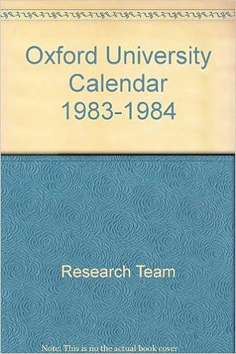 Oxford University Calendar 1983 1984 Amazoncouk Research Team