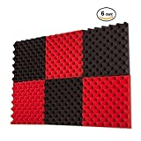 6 Pack Red / Charcoal Eggcrate Acoustic Foam Sound Proof Foam Panels Nosie Dampening Foam Studio Music Equipment 1.5