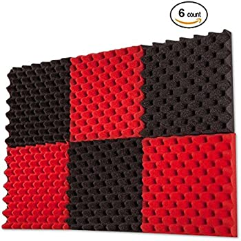 "6 Pack Red / Charcoal Eggcrate Acoustic Foam Sound Proof Foam Panels Nosie Dampening Foam Studio Music Equipment 1.5"" x 12"" x 12"""