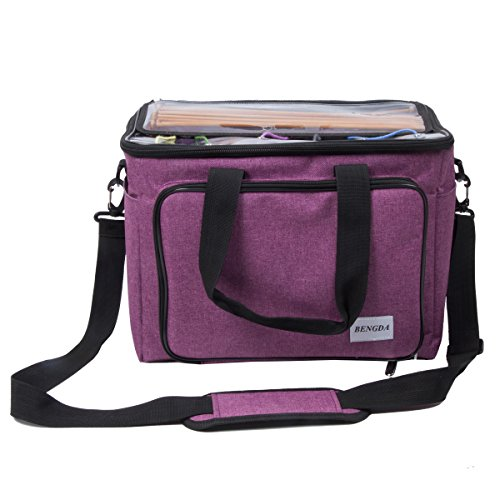 """Knitting Bag,Yarn Tote Organizer with Inner Divider for Crochet Hooks, Knitting Needles(up to 14""""),Project and Supplies,Easy to Carry,High Capacity (Purple) by BENGDA (Image #3)"""
