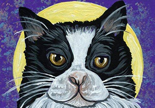 ACEO Original Trading Card-Full Moon Tuxedo Cat Art -Carla Smale
