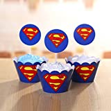 24set Superman Cupcake Wrappers and Toppers Decoration Birthday Party Superhero Wrappers and Toppers Kids Party Supplies