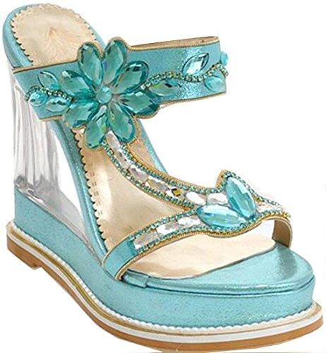 Laruise Women's Crystal Slide Sandal Blue