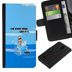 For Samsung Galaxy S5 Mini / Galaxy S5 Mini Duos / SM-G800 !!!NOT S5 REGULAR! ,S-type® Week Ocean Funny Cartoon Blue - Dibujo PU billetera de cuero Funda Case Caso de la piel de la bolsa protectora